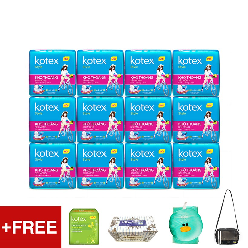 Bộ 12 gói KOTEX Style LST siêu mỏng cánh Tặng 1 Gói Kotex Hàng ngày + Bộ chăn gối + Hộp khăn giấy Kl