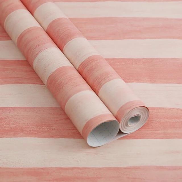 10 mét giấy dán tường sọc hồng khổ rộng 45 cm ,sẵn keo