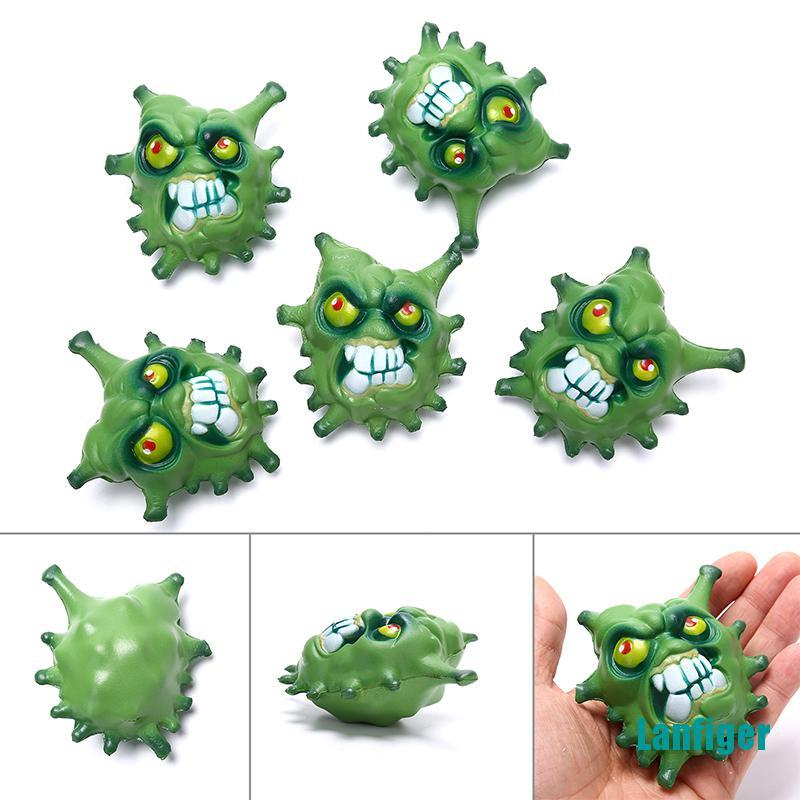 【Lanfiger】1pcs Tricky simulation virus slow rebound decompression venting PU squeeze toy