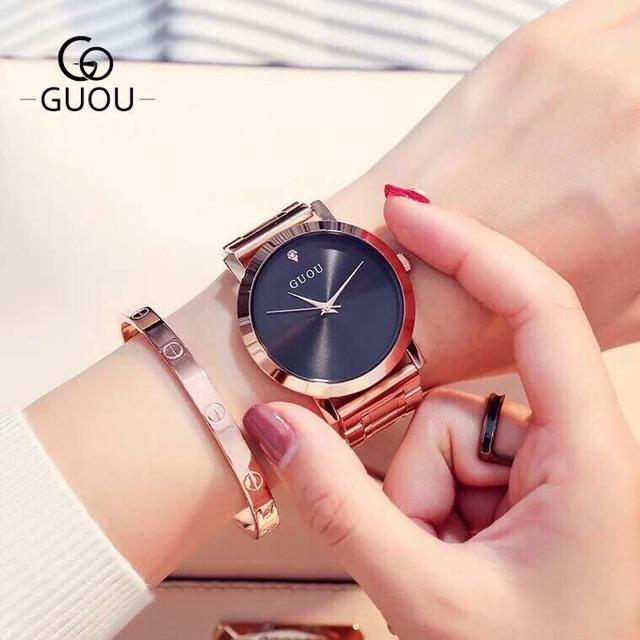 Đồng hồ nữ GUOU 8171 chính hãng dây thép ko gỉ nhiều màu
