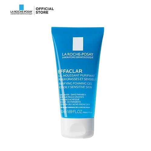 Gel rửa mặt tạo bọt làm sạch dành cho da dầu nhạy cảm La Roche-Posay Effaclar Foaming Gel 50ml