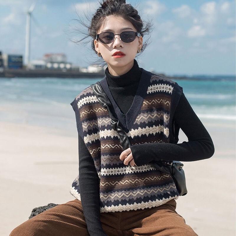 Set áo len nữ cao cấp thiết kế rời 2 mảnh gồm áo len cổ lọ + áo gile len kẻ ngang NV0524