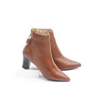 Giày Boot Lửng Cao Gót Mũi Nhọn 6cm Da Bò Thật Màu Nâu Pixie P349