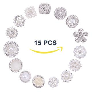 15 Pcs Acrylic Rhinestone Buttons Brooches Pearl Crystal Wedding Bouquet Kit