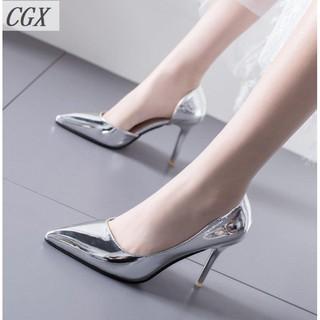 Sale 70% Giày cao gót mũi nhọn màu bạc, 39/silver, 7 phân Giá gốc 403,000 đ - 48A16