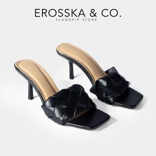 Dép cao gót Erosska thời trang mũi vuông quai đan kiểu dáng thanh lịch cao 7cm màu đen _ BM002