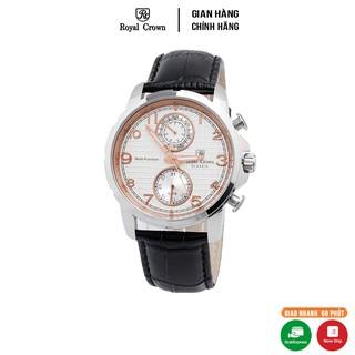 [Mã FARSBR153 giảm 15% đơn 150K] Đồng hồ nam chính hãng Royal Crown 8426 Leather Watch