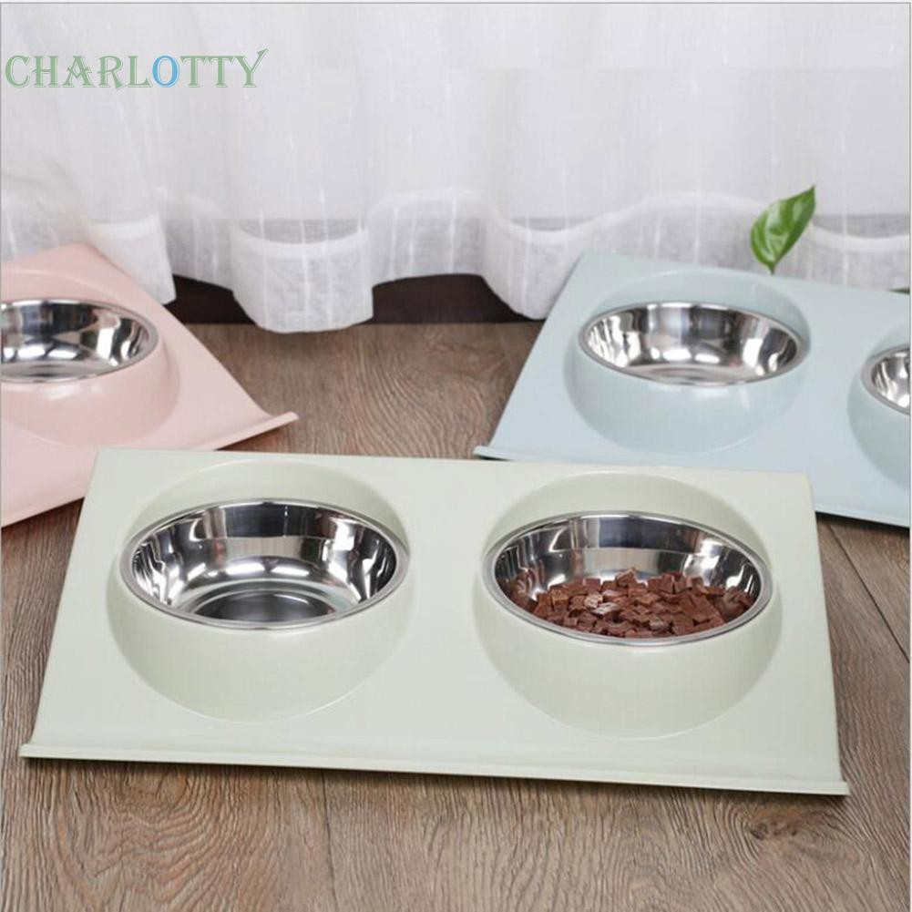 🦋Stainless Steel Dual Port Pet Feeding Bowl Dog Cat Water Food Dish Feeder🦋