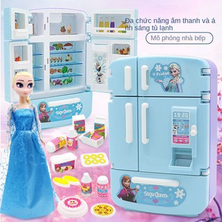 Tủ lạnh trẻ em Frozen 2 Đồ chơi nhà bếp Bộ mô phỏng Cô gái làm Nấu ăn 3-6 tuổi thumbnail