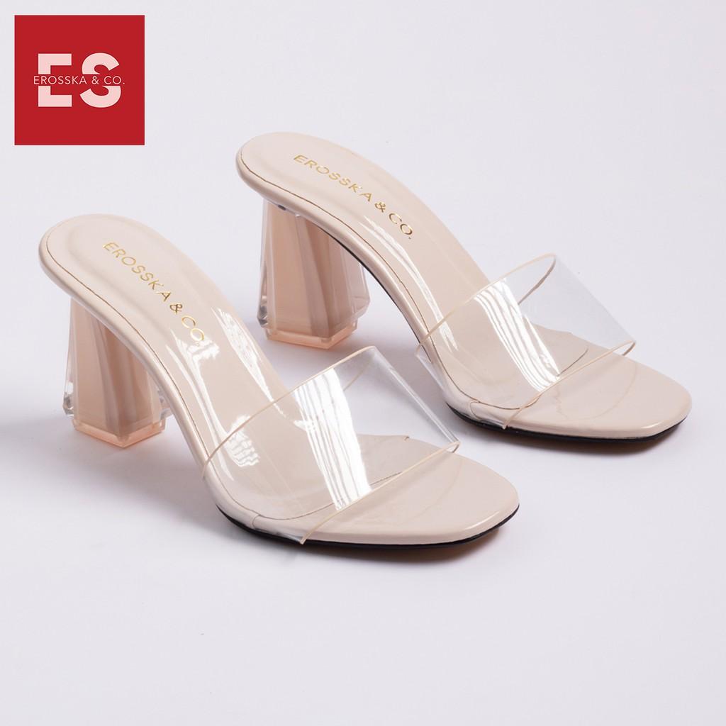 Dép mule cao gót quai trong Erosska thời trang mũi vuông gót trong cao 9cm màu nude _ EM040