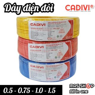 [Bán lẻ theo 1 mét] Dây điện đôi mềm VCMD CADIVI® / 2×0.5 – 2×0.75 – 2×1.0 – 2×1.5 (mm)