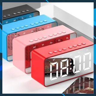 Loa Bluetooth thu FM Đọc thẻ nhớ micro SD TF - kết nối ngõ AUX jắc 3.5mm máy tính có dây - đồng hồ báo thức Led .