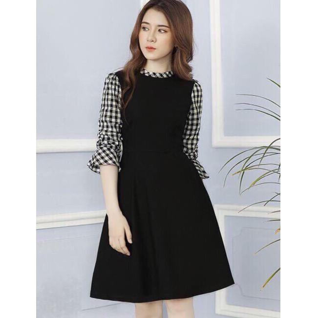 Đầm xòe tay sơ mi caro sọc đen trắng HADK8235K| Đầm chữ a dáng Hàn Quốc giá rẻ
