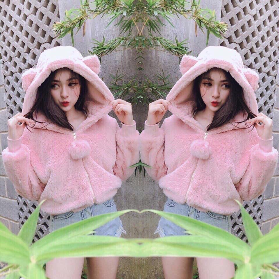 Áo Lông Tai Gấu ( 2 LỚP ) Siêu Dày Quả Bông Siêu Cute