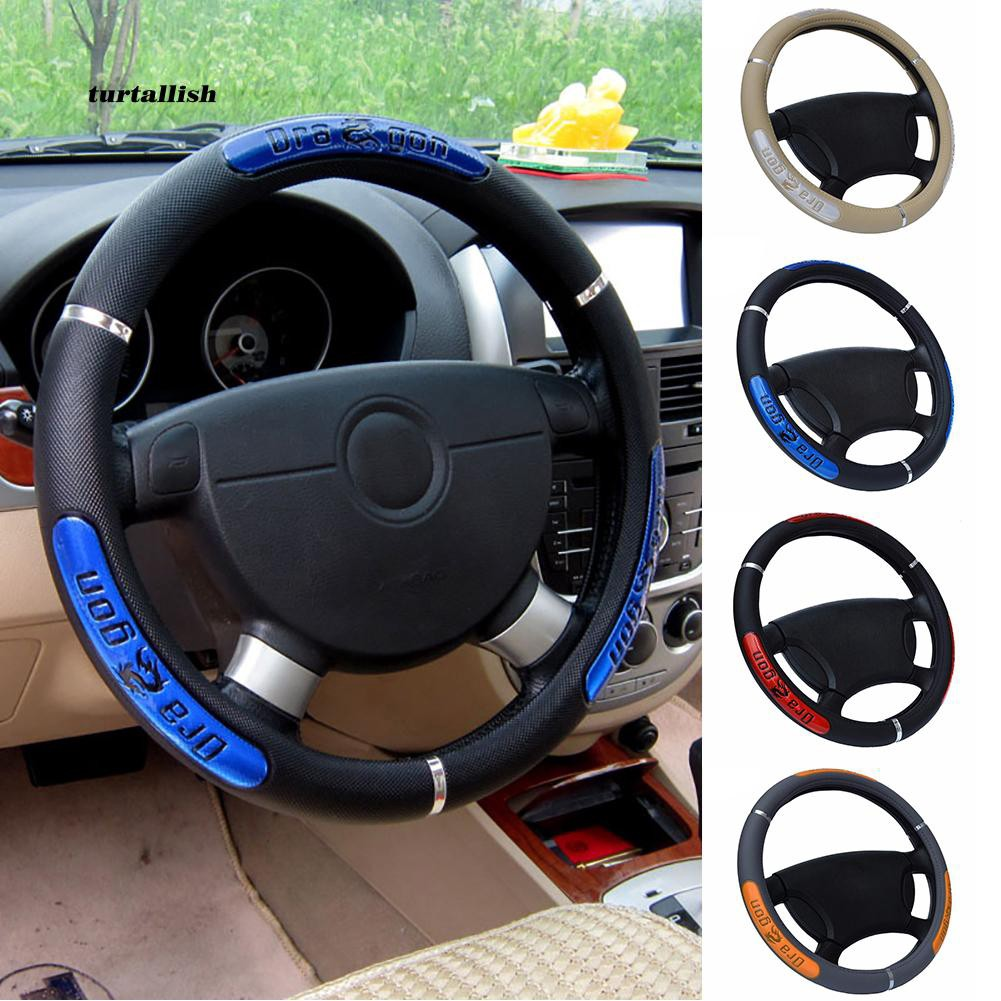 TTSL_Dragon Design Faux Leather Car Durable Steering Wheel Cover Sleeve Protector