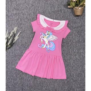 Váy Đầm thun HT Bé Gái ngựa kỳ lân 1 sừng little PONY cồ sen thủy thủ thun 4 chiều size nhí đại