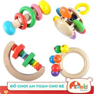 Đồ chơi Xúc xắc gỗ- Lục lạc gỗ cầm tay nhiều màu xinh xắn an toàn cho bé