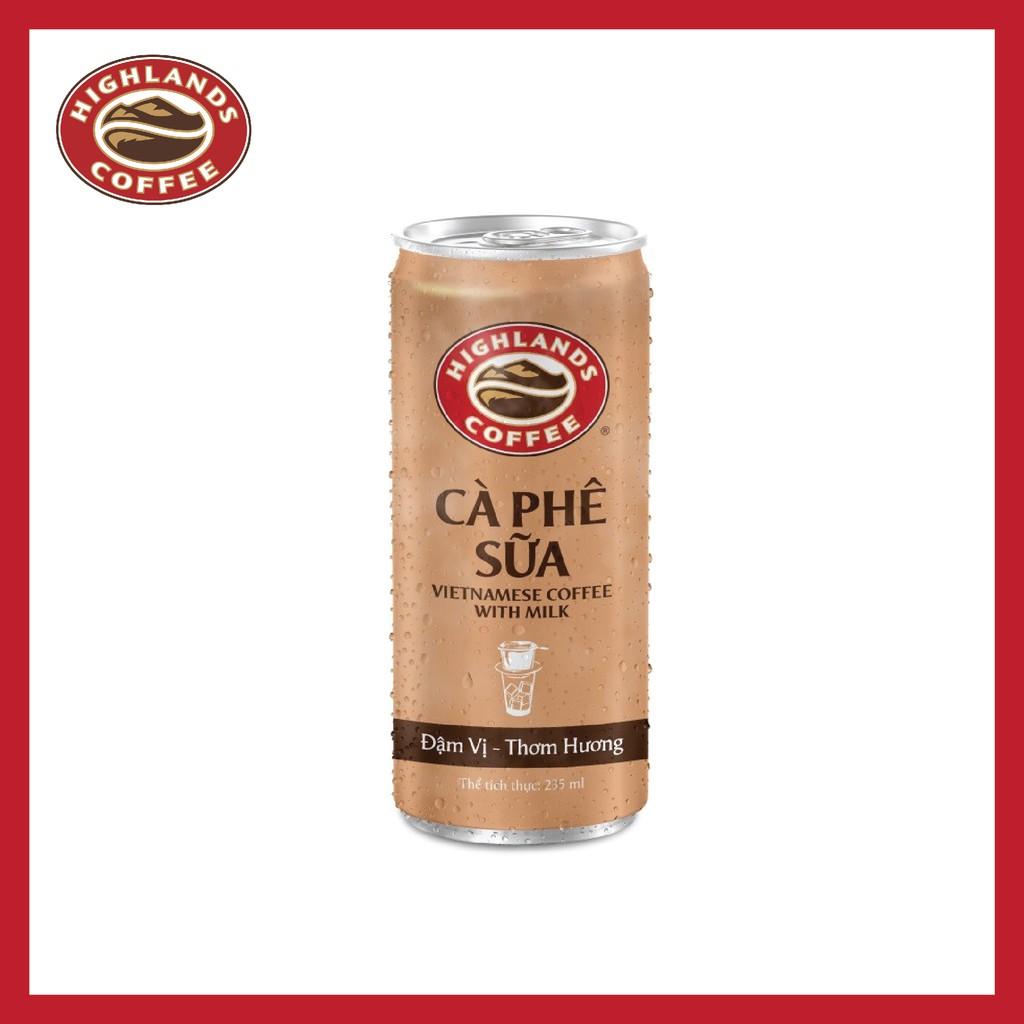 [Mã FMCGMALL - 8% đơn 250K] Thùng 24 Lon Cà Phê Sữa Đá Highlands Coffee 235ml/lon