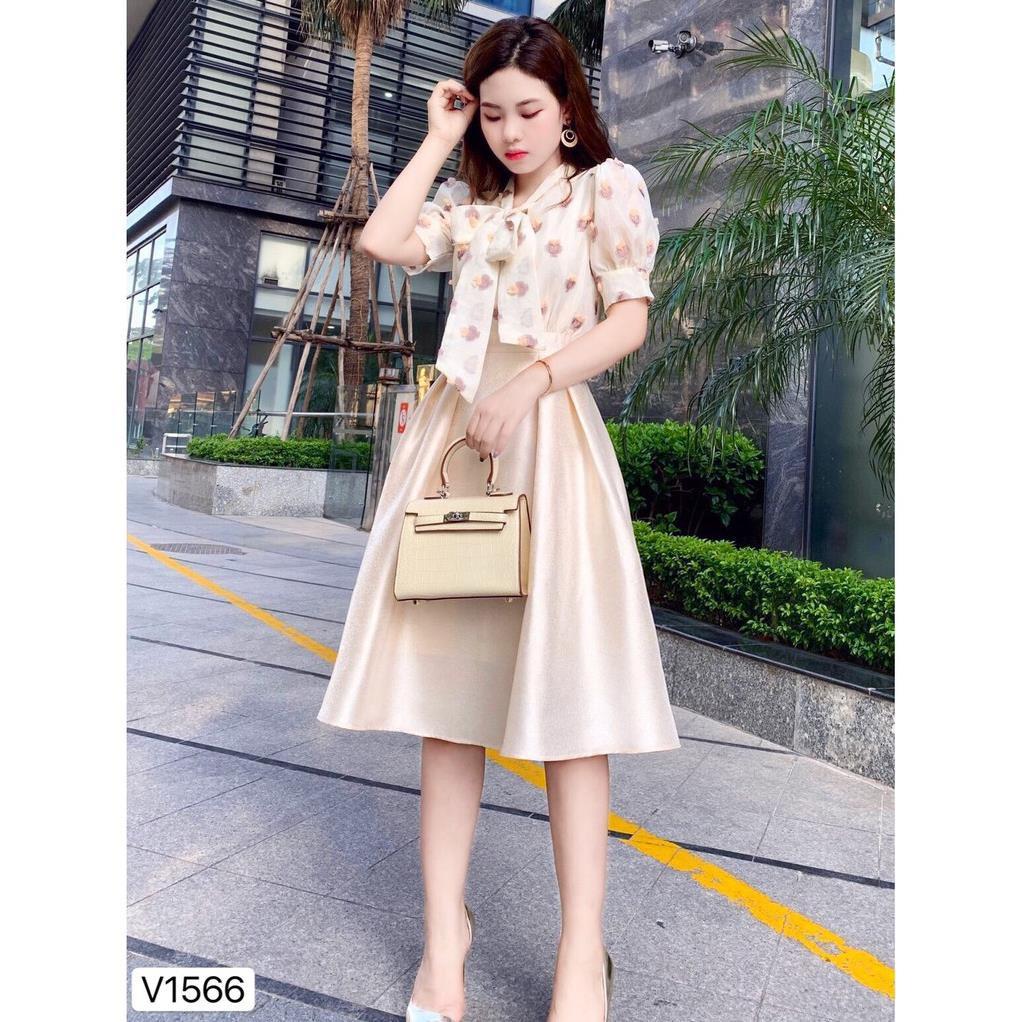 Đầm liền áo hoa chân váy tafta V1566 - Đầm thiết kế DVC Kèm ảnh thật