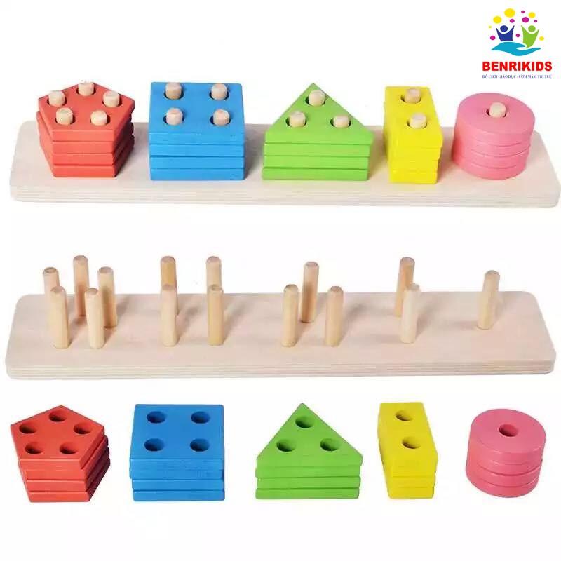 Giáo Cụ Montessori Bảng Phân Loại Màu Sắc Hình Khối Bằng Gỗ
