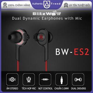 Tai nghe có dây Blitz Wolf có mic, jack 3.5mm, tích hợp điều khiển động kép tạo âm thanh sống động (MD BW-ES2) thumbnail