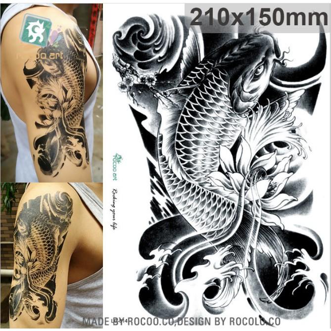 Hình xăm dán nam tatoo cá chép hóa rồng chống thấm nước cực hot dành cho nam kích thước 15 x 21 cm