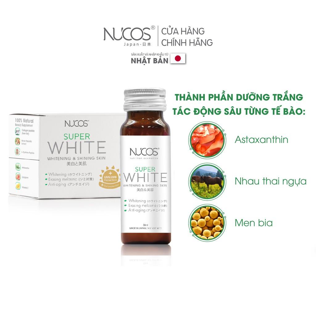 Nước uống trắng da giảm thâm nám chống nắng Nucos Super White 50ml x 10 chai