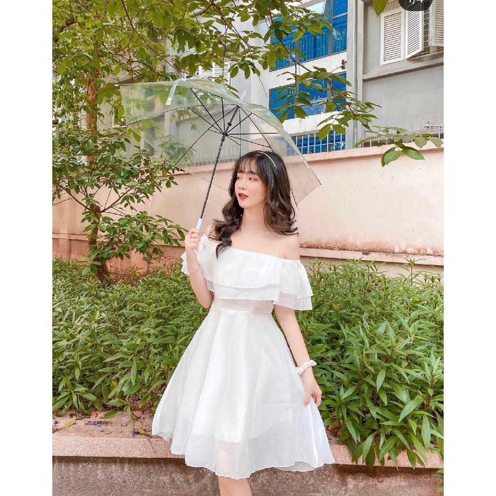 Mặc gì đẹp: Sang chảnh với [RẺ VÔ ĐỊCH] Váy Đầm Dự Tiệc Trễ Vai Màu Trắng Siêu Dễ Thương Phong Cách Công Chúa Chất Vải Mềm Mịn Không Nhăn