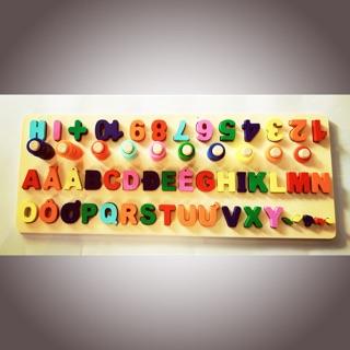 Bảng học ghép chữ cái tiếng Việt + chữ số + đếm cọc theo Montessori