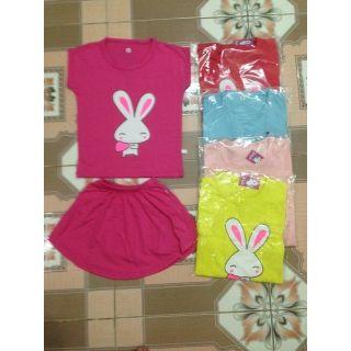 Combo 2 bộ thỏ tim cotton 4 chiều chân váy may kèm chip