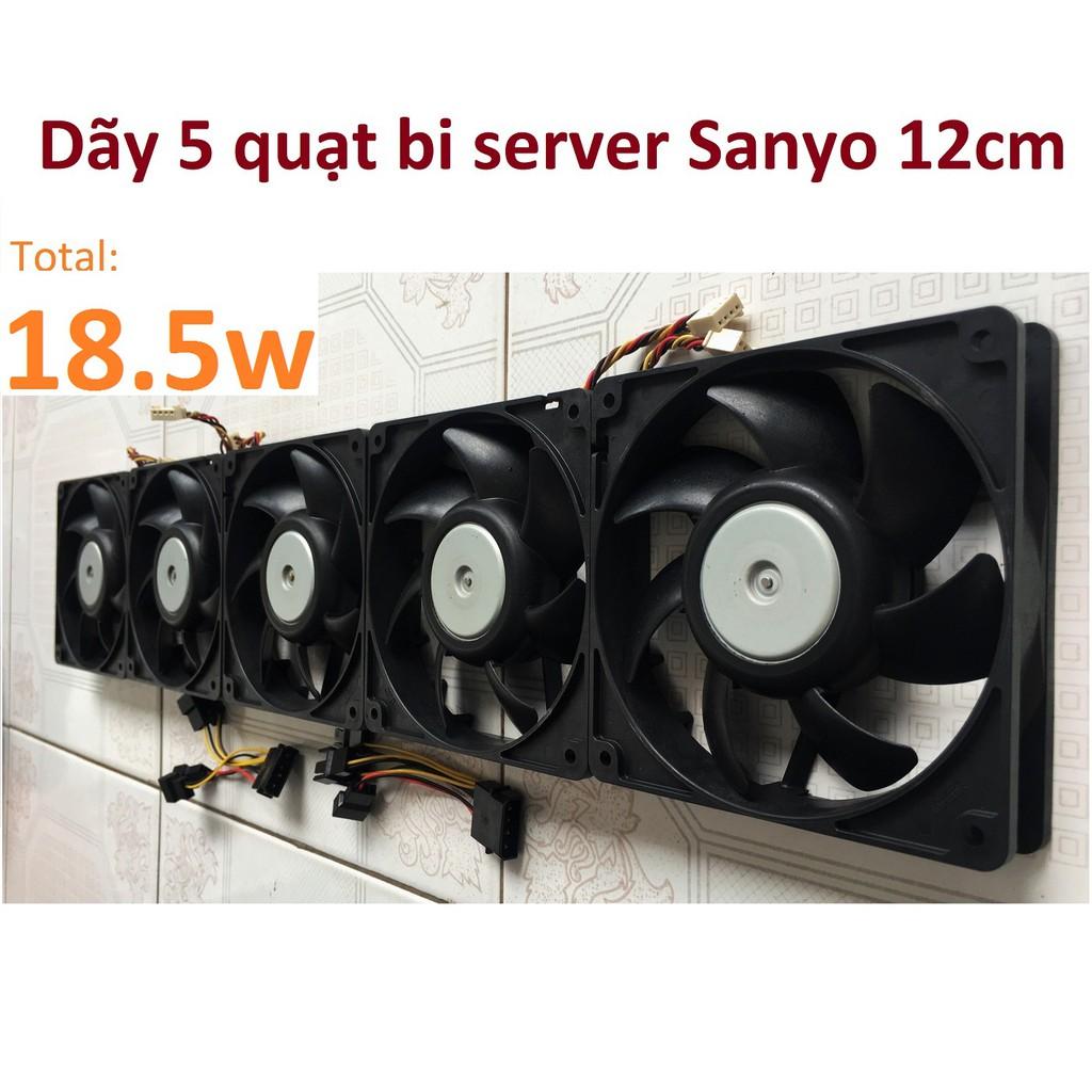 Dãy 5 quạt bi server Sanyo 12cm 0.31a công suất 18.5w, chiều dài 60cm, fan 12v tháo máy bộ