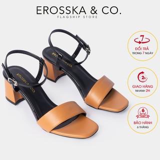 Giày sandal cao gót Erosska mũi vuông phối quai dây mảnh cao 5cm màu bò - EB030