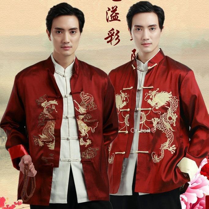 Áo khoác vest thêu họa tiết rồng phong cách Trung Hoa dành cho nam