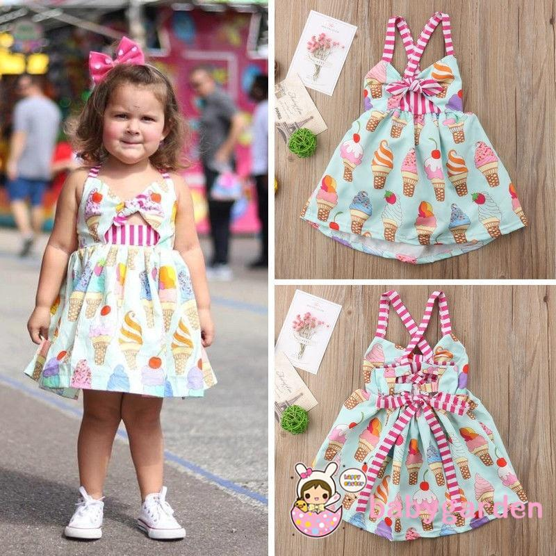 ANG-Ice-cream Kids Baby Girls Party Princess Backless Strap Dress Sundress