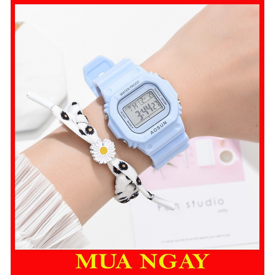 Đồng hồ nam nữ Aosun điện tử thời trang đeo tay hoa cúc cực đẹp DH106