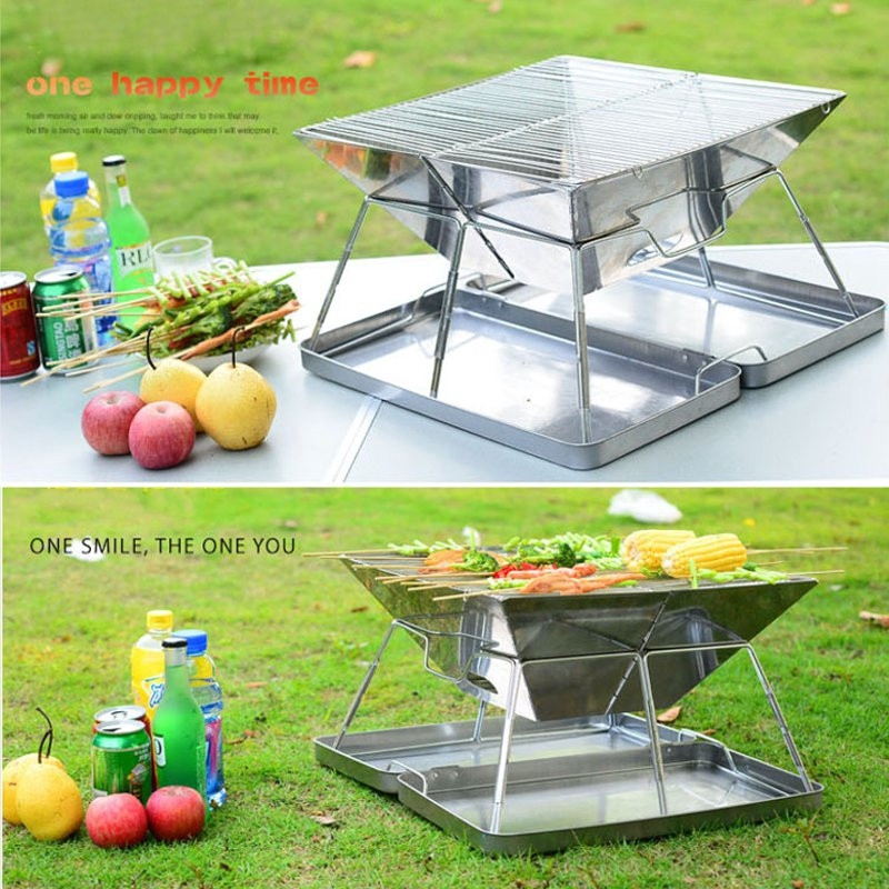 Stainless Steel Folding Portable Charcoal Mini Barbeque Grill Portable Barbeque