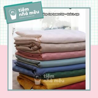 Set Chăn Ga Gối Cotton Lụa 5 Màu Kẻ Mờ Chuyên Dùng Cho HOMESTAY - KHÁCH SẠN