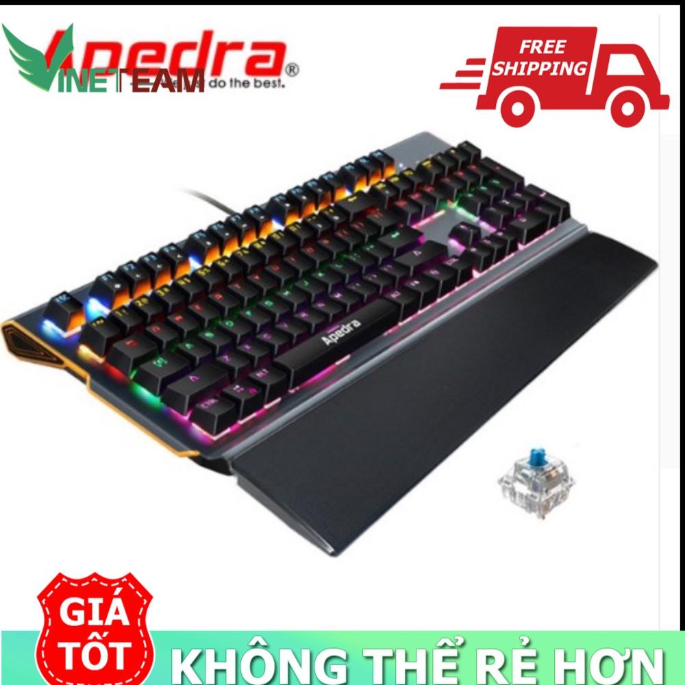 Bộ bàn Phím Cơ đèn LED 7 MÀU SIÊU ĐẸP GAMING Apedra MK-X90 104 PRO-Tặng kèm đế kê tay nhựa - tặng lót chuột
