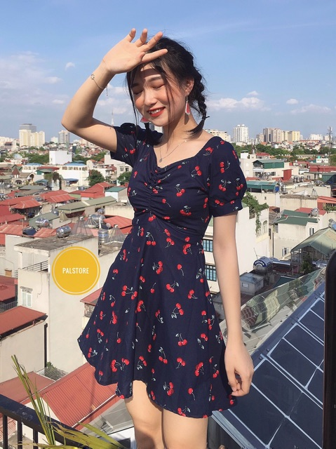 Đầm Rút dây Hoạ Tiết Hoa Nhí siêu xinh