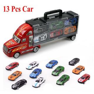 1Pcs Truck Car+12pcs Sedan Car Alloy Car Model Big Mac Cargo Truck Toys for Kids