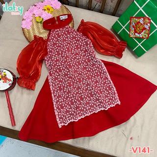 Váy bé gái ILABY giả áo dài tơ phối ren khoét vai màu đỏ vàng [V141]