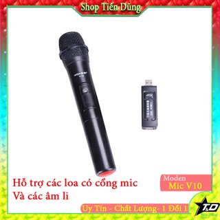 Mic không dây V10 chạy pin AA phổ biến dùng cho loa kéo - micro không dây tương thích các dòng có mic cổng 6.5
