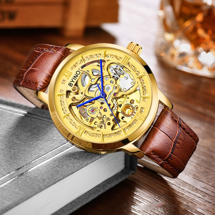 Đồng hồ nam Byino 8222 cơ tự động lộ máy dây da thời trang