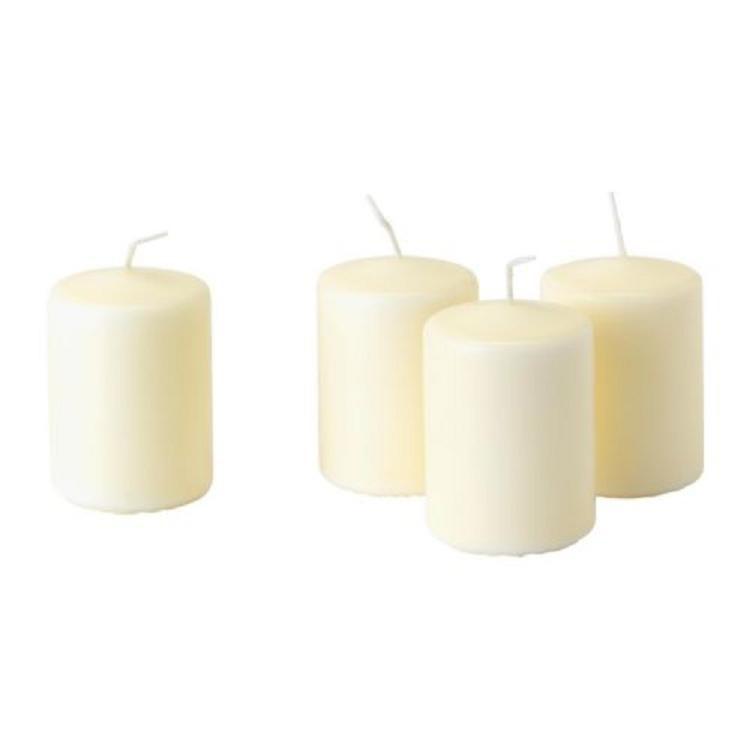 Nến trụ màu trắng 4c HEMSJÖ- IKEA