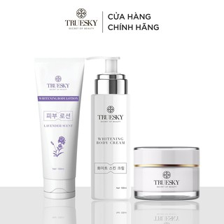 Bộ Truesky VIP05 gồm 1 kem dưỡng trắng da mặt & 1 kem ủ trắng toàn thân & 1 kem dưỡng trắng da toàn thân Lavender