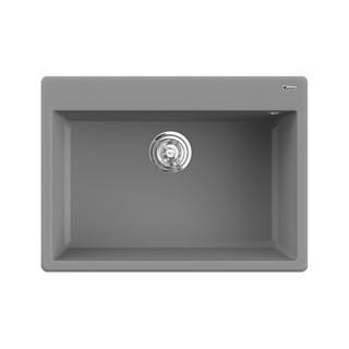 Chậu rửa bát đá KONOX Granite Series Ruvita 680 Grey, Made in Italy, Full set gồm Siphon + Giá úp bát inox
