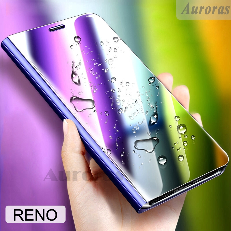 Mirror Flip Case for OPPO RENO Leather Phone Cover Smart Makeup Mirror Stand Casing for Reno 2 10X zoom Auto Sleep Cases