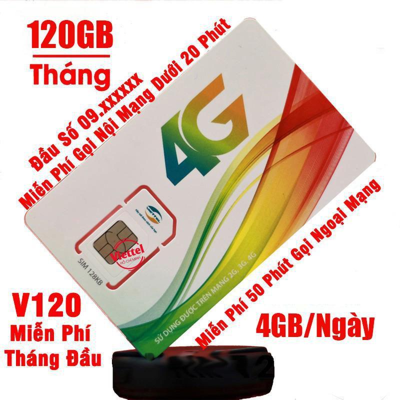 [FREE 30 NGÀY] SIM Viettel V120 Tặng 4GB/Ngày và miễn phí gọi nội mạng