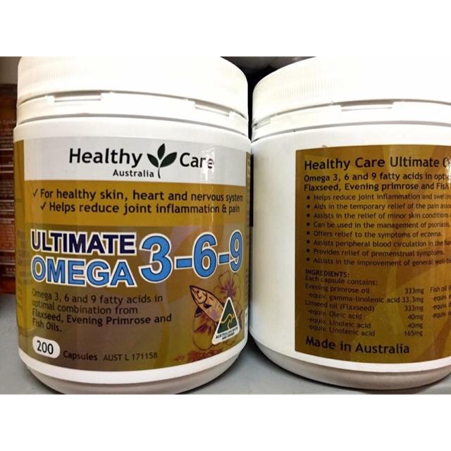 VIÊN UỐNG OMEGA 3-6-9 TOÀN DIỆN CỦA HEALTHY CARE 200 VIÊN
