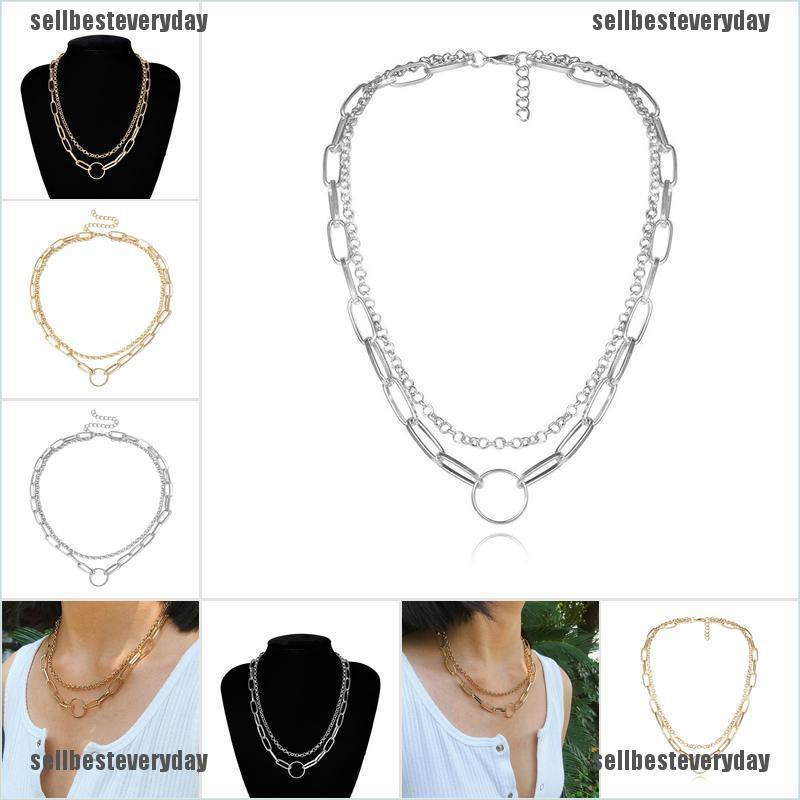 Women Wide Necklaces Jewelry Fashion Doublelayer Chain Charm Statement Choker jelly